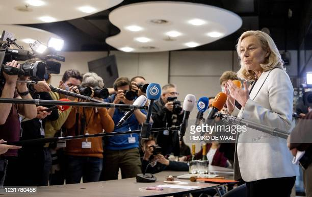 Democrats 66 party leader Sigrid Kaag speaks the press at a meeting of D66 in the Thorbeckezaal in The Hague, on March 18 the day after the Dutch...