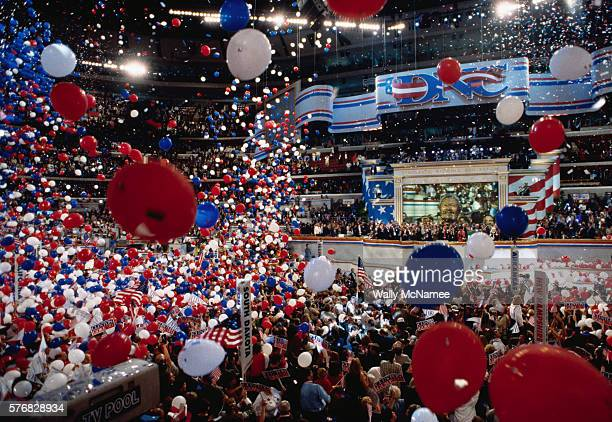 Democrats celebrate following Presidential Candidate Bill Clinton's acceptance speech at the 1996 Democratic National Convention