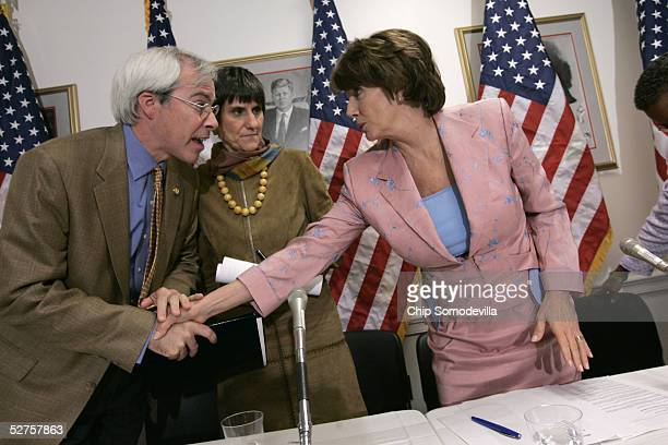 Democrats from the US House of Representatives including Rep John Barrow Rep Rosa DeLauro and Minority Leader Nancy Pelosi visit after news briefing...