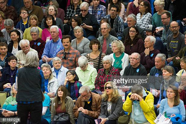 Democrats participate in the caucus at Swope Middle School February 20 2016 in Reno Nevada Former Secretary of State Clinton was projected to be the...