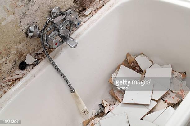 Demolished bath tub