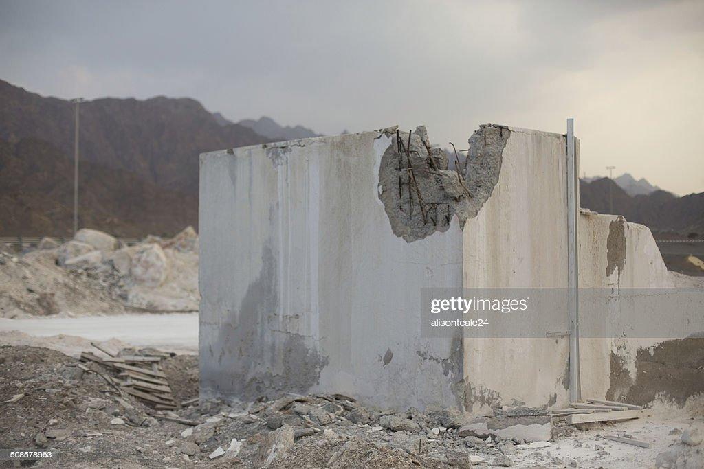 全壊ビル、Dibba 、アラブ首長国連邦 : ストックフォト