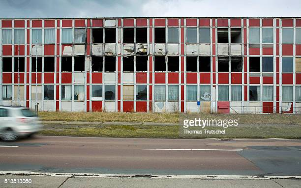 Demolished building on a side street on March 03 2016 in Leuna Germany The central control room is automation units to energy and water at the...