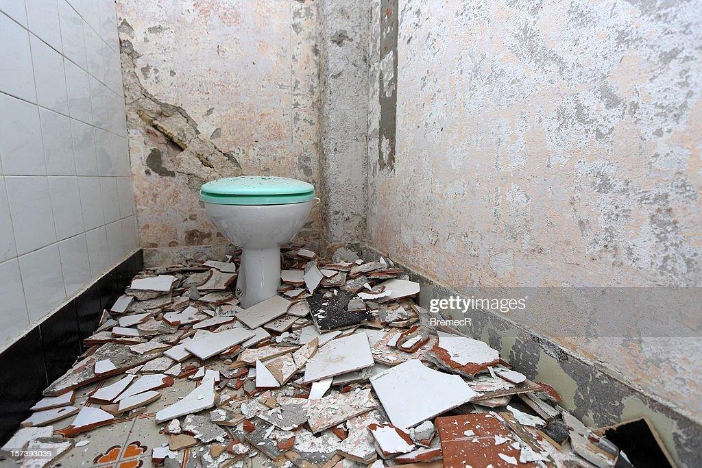 Demolished Toilet Stock Photo