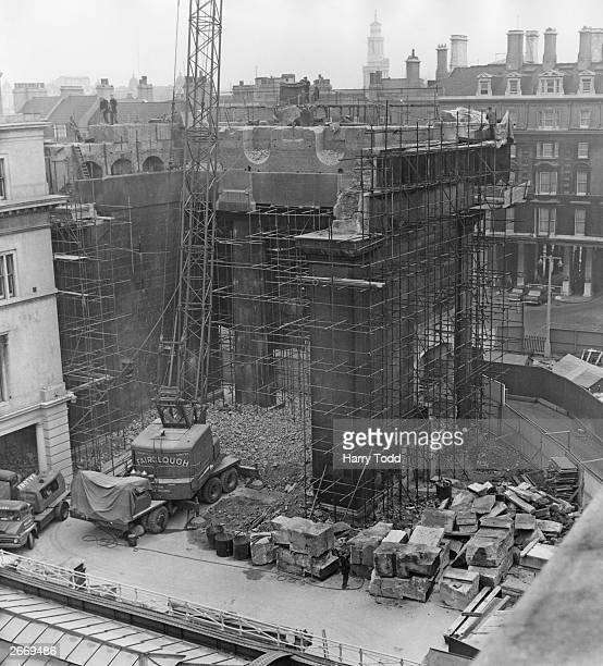 Demolishing the Doric Arch outside Euston Station London which was a feature of the station for many years