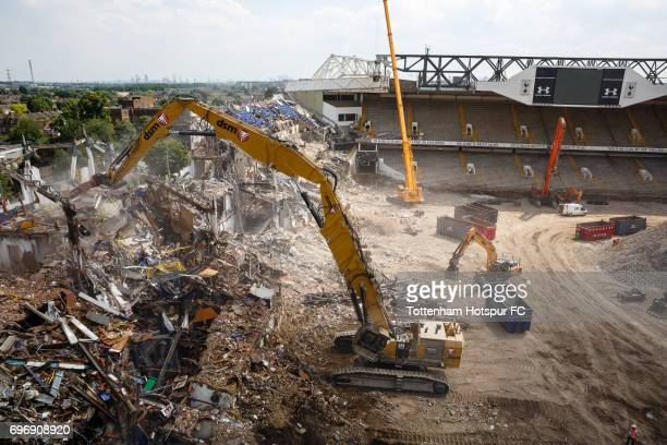 Demolition continues as work progresses on Tottenham Hotspur FC new stadium the White Hart Lane redevelopment at White Hart Lane on June 15 2017 in...