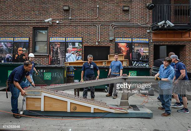 """Demolition crew takes apart the """"Late Show with David Letterman"""" set at the Ed Sullivan Theater."""