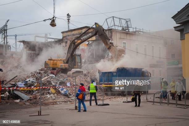 Demolition of a commercial building in Moscow.