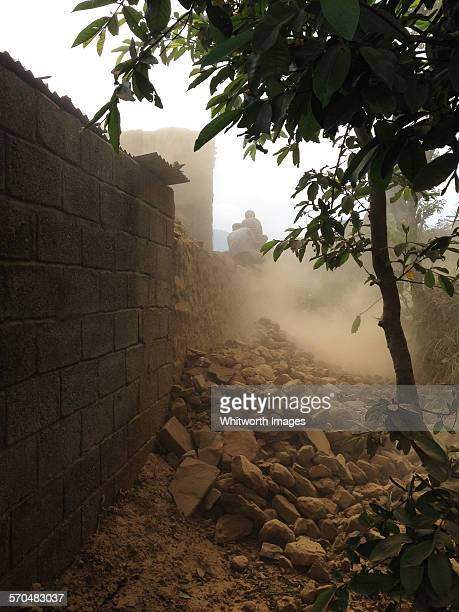 Demolition of house after Nepal earthquake