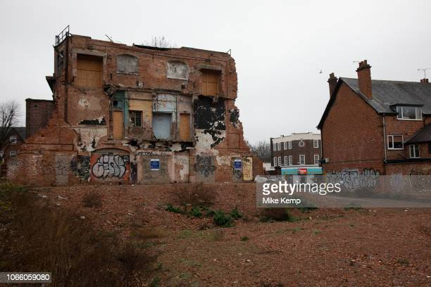 Demolition of the Kingsway a derelict former cinema in Kings Heath Birmingham United Kingdom The Kingsway cinema built in the 1920s and later housed...