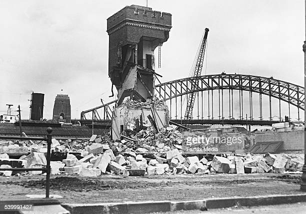 Demolition of the tram sheds at Bennelong Point Sydney for the construction of the Opera House on 30 December 1958 FAIRFAX ARCHIVE