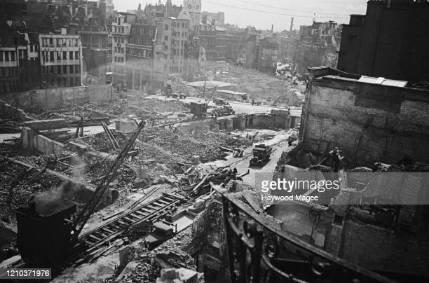 Demolition site near the offices of Picture Post magazine in Shoe Lane, off Fleet Street, London, September 1941. Buildings in the area have been...