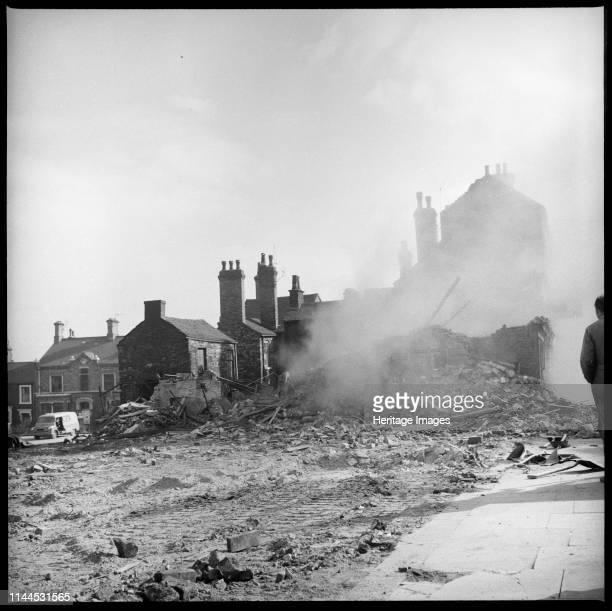 Demolition work in progress, Lichfield Street, Hanley, Stoke-on-Trent, 1965-1968. The demolition of houses on the east side of Lichfield Street with...