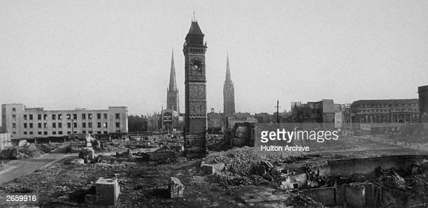 Demolition work in the centre of Coventry continues following the air raid on the city the previous year