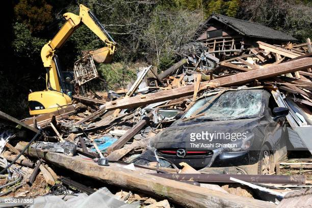 Demolition work of the damaged houses continues on the 10 months anniversary of the series of earthquakes on February 16 2017 in Minamiaso Kumamoto...