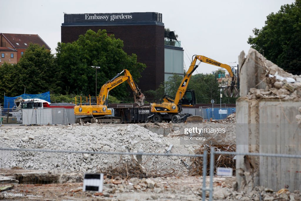 Demolition work takes place at the Nine Elms Square construction site in London, U.K., on Tuesday, Aug. 22, 2017. Billionaire Wang Jianlins Dalian Wanda Group Co. scrapped plans to buy the land plot in London for 470 million pounds ($606 million) amid the Chinese governments intensifying scrutiny of overseas investments. Photographer: Luke MacGregor/Bloomberg via Getty Images