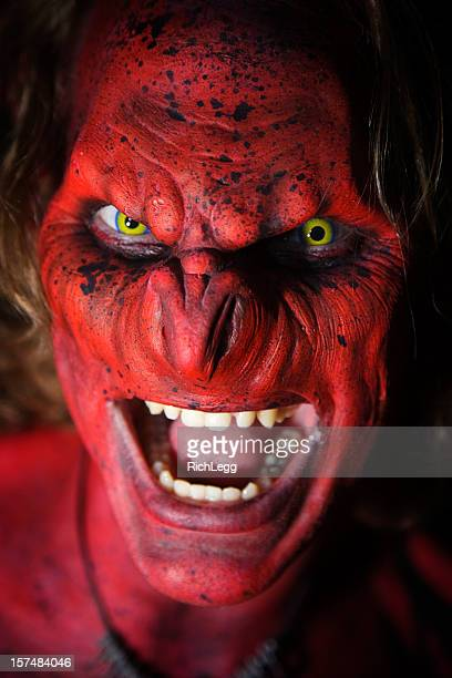demon close-up - very scary monsters stock photos and pictures