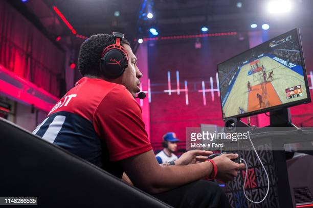 Demon JT of Wizards District Gaming remains focused during the game against Knicks Gaming during Week 8 of the NBA 2K League regular season on June 5...
