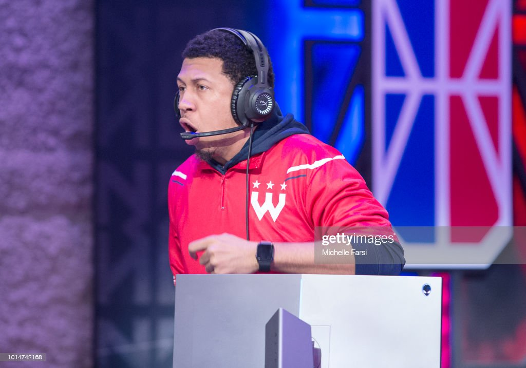 Demon JT of Wizards District Gaming talks trash during the game against Knicks Gaming during Week 12 of the NBA 2K League on August 10, 2018 at the NBA 2K Studio in Long Island City, New York.