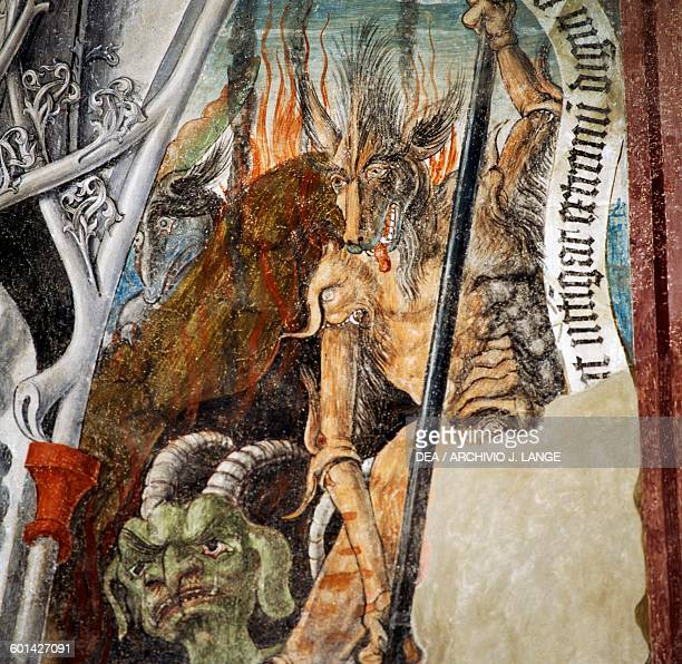 Demonic figures detail of a fresco in the museum in St Michael's chapel known as Castle of the Angels Abbey of Neustift Varna TrentinoAlto Adige...