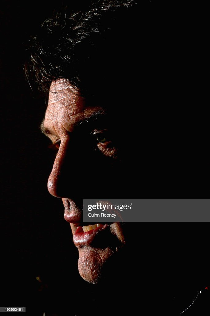 Demons coach Paul Roos speaks to the media during a Melbourne Demons AFL press conference on May 27, 2014 in Melbourne, Australia.