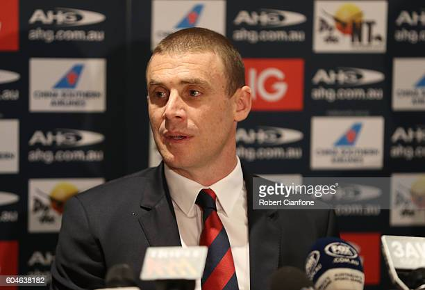 Demons coach Simon Goodwin speaks to the media during a Melbourne Demons AFL press conference at Melbourne Cricket Ground on September 14 2016 in...