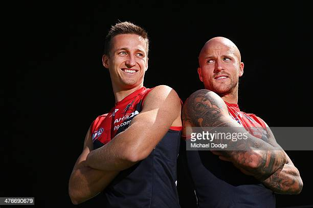 Demons cocaptains Jack Grimes and Nathan Jones pose during the 2014 AFL Season Launch at Adelaide Oval on March 5 2014 in Adelaide Australia