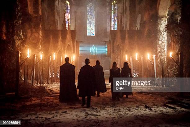 12 MONKEYS 'Demons' Episode 408 Pictured Todd Stashwick as Deacon Aaron Stanford as James Cole Amanda Schull as Cassandra Railly Emily Hampshire as...