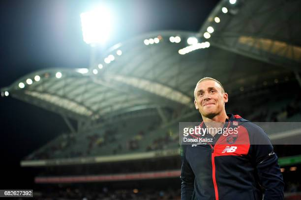 Demons head coach Simon Goodwin looks on after the round eight AFL match between the Adelaide Crows and the Melbourne Demons at Adelaide Oval on May...