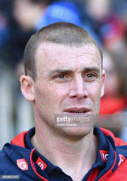Demons head coach Simon Goodwin looks on during the round 22 AFL match between the Melbourne Demons and the Brisbane Lions at Melbourne Cricket...