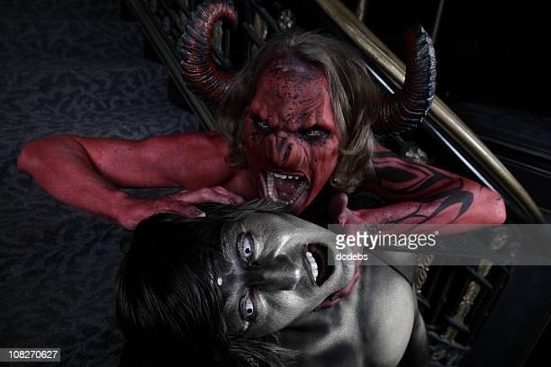 demons - disfraz de diablo fotografías e imágenes de stock