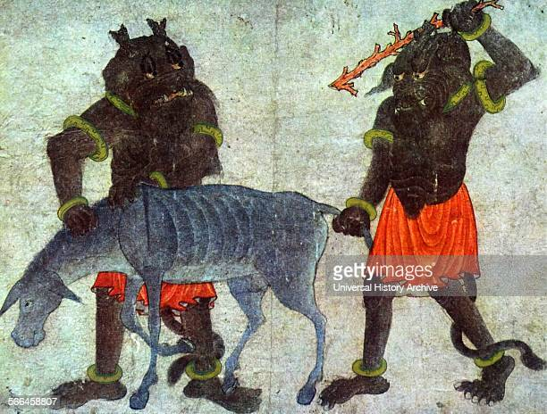 Demons trying to move the donkey Turkish illustrated manuscript 14th century