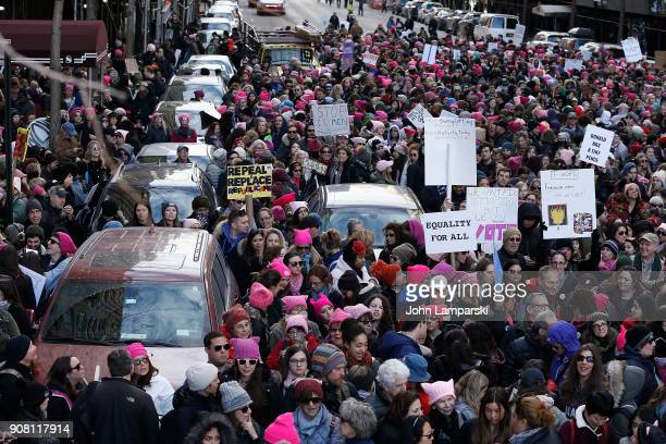 Demonstartors are seen during the 2018 Women's March in New York City on January 20 2018 in New York City