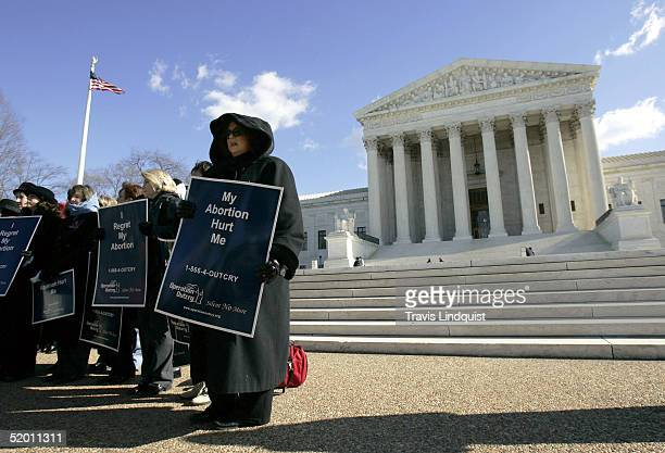 Demonstators stand in front of the US Supreme Court on January 18 2005 in Washington DC Norma McCorvey along with the Justice Foundation are...