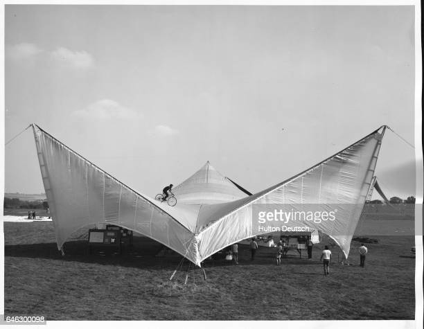 Demonstrating the strength and rigidity of a trisail marquee erected at Letchworth today is Mr Mick Webster aged 23 a member of the Nomads Cycling...