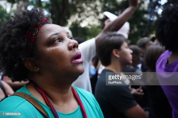 Demonstration about the death of nine people during a police raid at a Funk Party at Paraisopolis slum last weekend. In front of São Paulo Public...