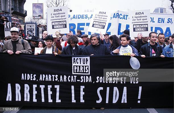 Demonstration Against AIDS in Paris France on March 06 1993