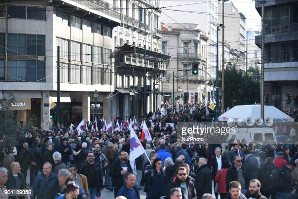 Demonstration against austerity measures and strike prohibition in Athens on January 12 2018