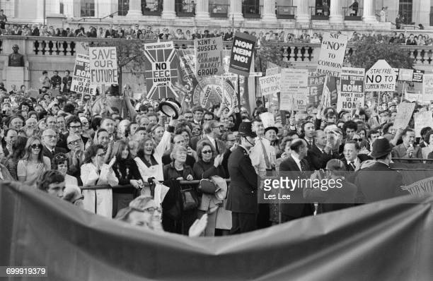 A demonstration against Britain's proposed entry into the EEC in Trafalgar Square London UK 24th October 1971