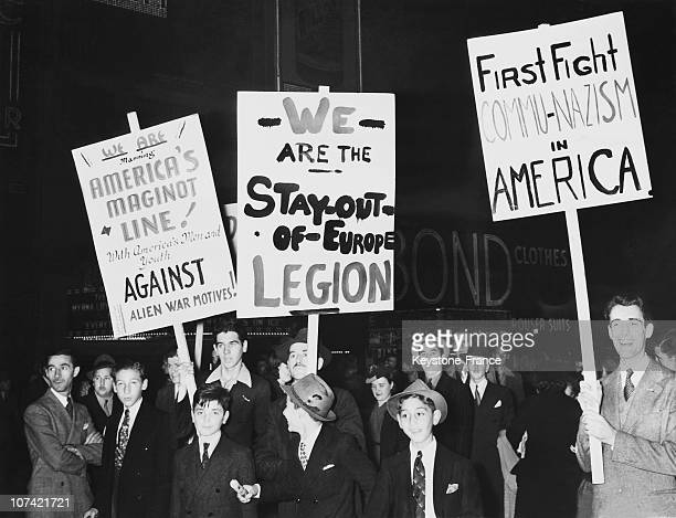 Demonstration Against Embroilment Of America In The European War Time Square At New York In Usa On October 7Th 1939