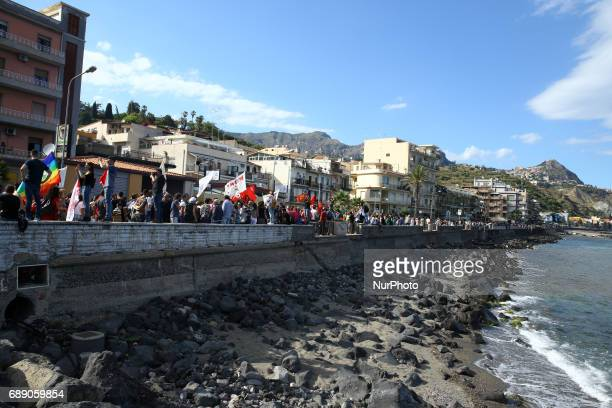 Demonstration against G7 along the boardwalk of Taormina Italy on May 27 2017