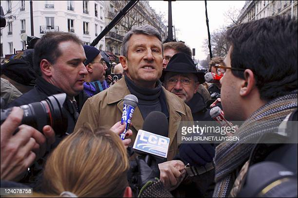 Demonstration against racism and antisemitism in memory of Ilan Halimi in Paris France on February 26 2006 Phillipe de Villiers is urged to leave the...