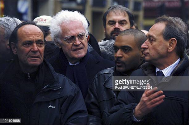 Demonstration against racism and antisemitism in memory of Ilan Halimi in Paris France on February 26 2006 Lionel Jospin Dominique Sopo and Bertrand...