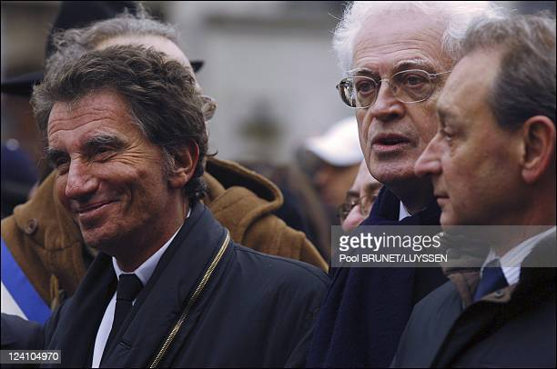 Demonstration against racism and antisemitism in memory of Ilan Halimi in Paris France on February 26 2006 Jack Lang Lionel Jospin and Bertrand...