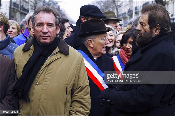 Demonstration against racism and antisemitism in memory of Ilan Halimi in Paris France on February 26 2006 Francois Bayrou and Marek Halter