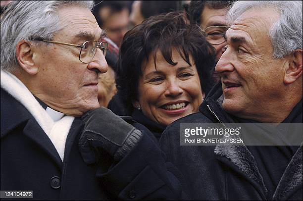 Demonstration against racism and antisemitism in memory of Ilan Halimi in Paris France on February 26 2006 Bishop Lustiger Anne Sinclair and...