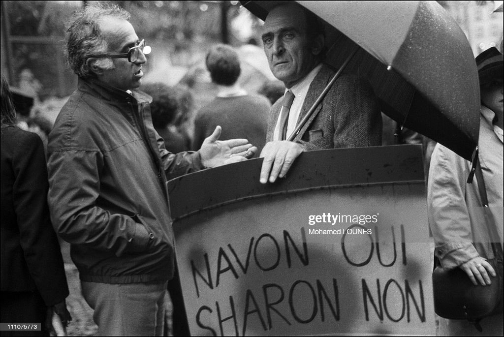 Demonstration against responsibles for the Sabra and Chatila massacres in France on September 25th, 1982. : Fotografía de noticias