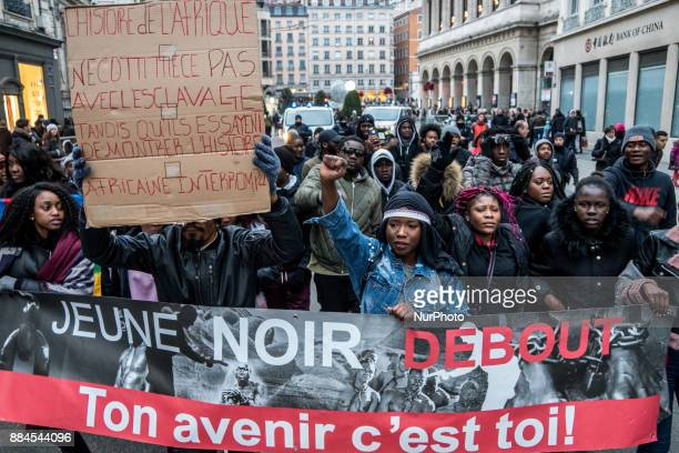 Demonstration against slavery after CNN's revelations about human trafficking in Libya Lyon France December 2 2017