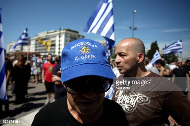 Demonstration against the agreement between Greece and FYROM outside the Greek Parliament in Athens Greece on June 15 2018 The agreement seems to...