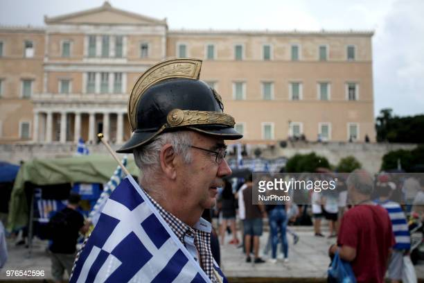 Demonstration against the agreement between Greece and FYROM outside the Greek Parliament in Athens Greece on June 16 2018 The agreement seems to...